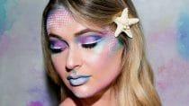 Make-up artist brengt zeemeerminnen make-up aan